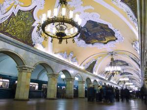 Interior of Komsomolskaya Metro Station, Moscow, Russia, Europe by Lawrence Graham