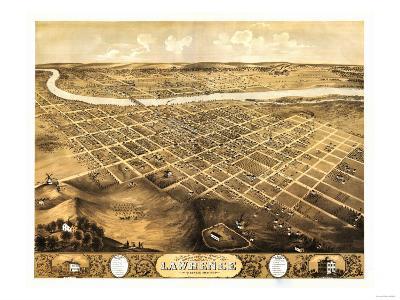 Lawrence, Kansas - Panoramic Map-Lantern Press-Art Print