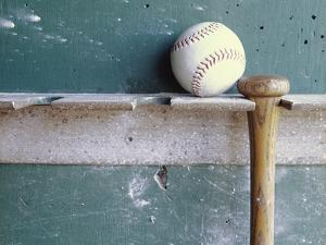 Baseball and Bat on Rack by Lawrence Manning