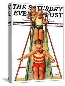 """""""Sliding into Water,"""" Saturday Evening Post Cover, July 12, 1930 by Lawrence Toney"""