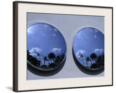 A Mirrored View of Palms in the South Beach Art-Deco District, Miami, Florida, USA
