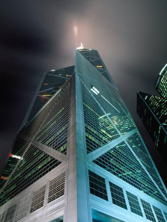 Bank of China at Night, Hong Kong, China by Lawrence Worcester