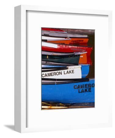 Canoes at Cameron Lake, Waterton Lakes National Park, Alberta, Canada