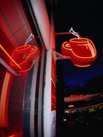 Coffee Cup Neon Sign on Pike Place Market, Seattle, Washington, USA