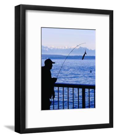 Fisherman on Waterfront Park, Seattle, Washington, USA