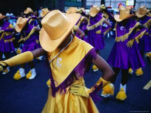 Marching Girls Participate in International District Parade, Seattle, Washington, USA by Lawrence Worcester