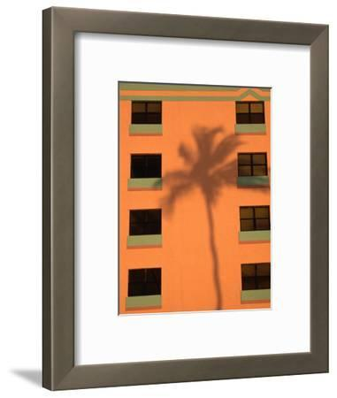 Palm Tree Shadow on Building Facade in the Art-Deco District of South Beach, Miami, Florida, USA