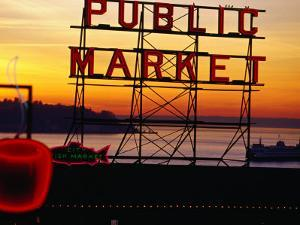 Pike Place Market Sign, Seattle, Washington, USA by Lawrence Worcester