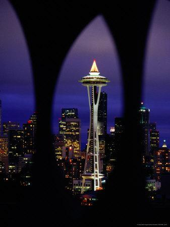 Space Needle at Night, Seattle, Washington, USA