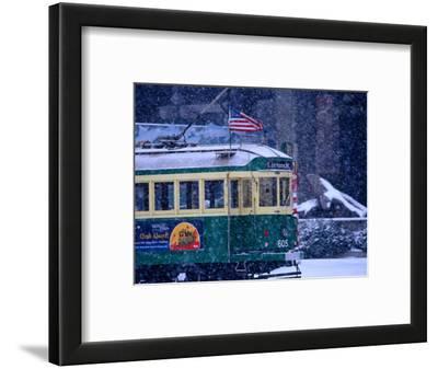 Tram in Snow on Alaskan Way, Seattle, Washington, USA