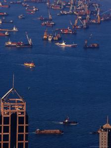 Victoria Harbour from Victoria Peak, Hong Kong, China by Lawrence Worcester