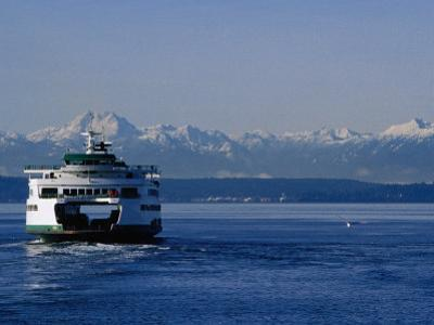 Wa State Ferry Nearing Colman, Seattle, Washington, USA by Lawrence Worcester