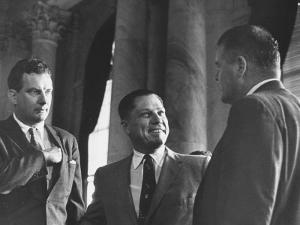 Lawyer Edward Bennett Williams W. Client James R. Hoffa at Rackets Committee Hearing