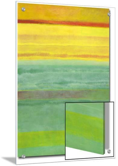 Layered Yellow and Green Abstract-Marie C^ Wattin-Art on Acrylic