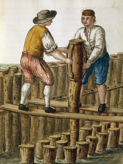 Laying Foundations of Venetian Lagoon by Jan Van Grevenbroeck (1731-1807) from Dress of Venetians M--Giclee Print