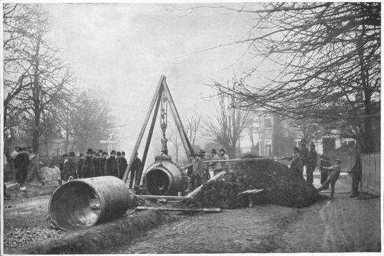 Laying of a big water main by the Southwark and Vauxhall Water Company, London, c1902-Unknown-Photographic Print