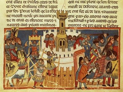 Laying Siege on a Fortress, Miniature from the Facts of the Romans, Italy 14th Century--Giclee Print