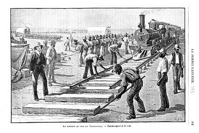 Laying Sleepers and Rails (Permanent Wa) on the Transvaal Railway, South Africa, 1893--Giclee Print