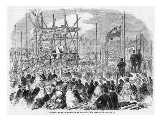 Laying the Foundation Stone of Spurgeon's Tabernacle--Giclee Print