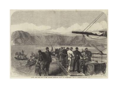 Laying the Shore End of the Atlantic Telegraph Cable, at Foilhommerum, Isle of Valentia--Giclee Print