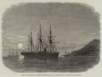 Laying the Submarine Telegraph Between Malta and Gibraltar, Off the Isle of Pantellaria--Giclee Print