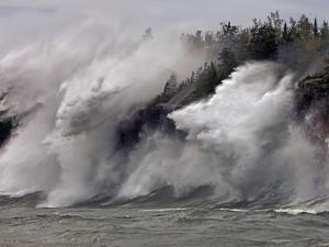 Fierce Lake Superior waves pound Minnesota's north shore by Layne Kennedy