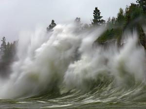 Storm Waves on Lake Superior Crashing on Minnesota Shoreline by Layne Kennedy