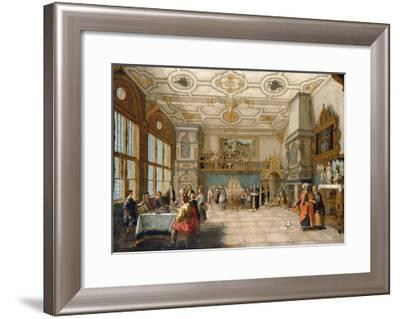 Lazarus at the Door of a Banqueting Hall with Elegant Figures Dining, 1622-Nicolaes de Gyselaer-Framed Giclee Print