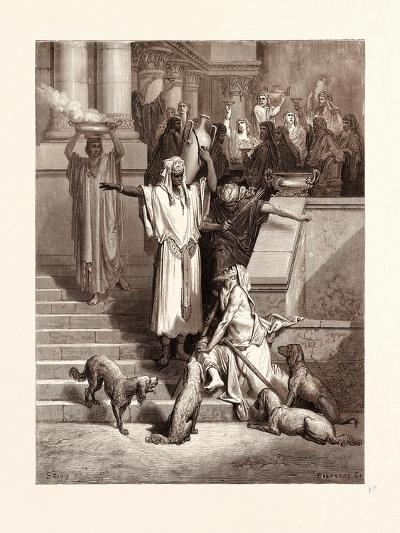 Lazarus at the Rich Man's Gate-Gustave Dore-Giclee Print