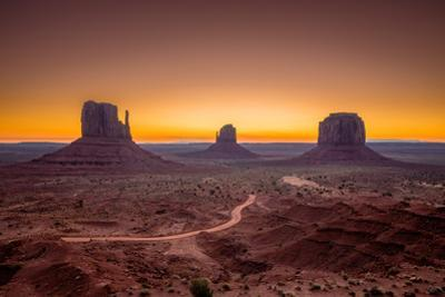 Classic View of Scenic Monument Valley with the Famous Mittens and Merrick Butte by lbryan