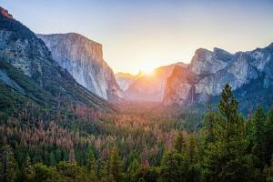 Panoramic View of Famous Yosemite Valley by lbryan