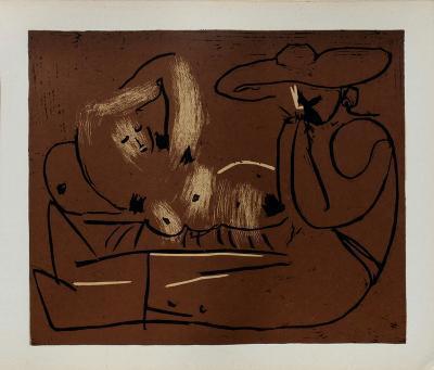 LC - Femme couch?e et homme au grand chapeau-Pablo Picasso-Premium Edition