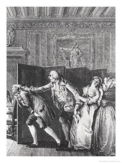 Le Baron...Chassa Candide Du Chateau a Grands Coups de Pied Dans Le Derriere-Jean-Michel Moreau the Younger-Giclee Print