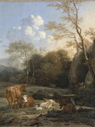 Le Bocage ; Vaches, ânes et moutons près d'un ruisseau-Karel Dujardin-Giclee Print