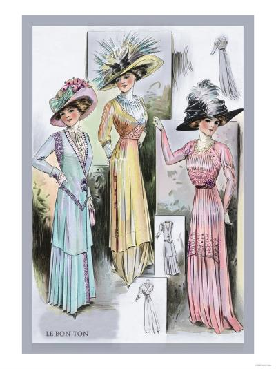 Le Bon Ton: A Trio in Pastels and Hats--Art Print