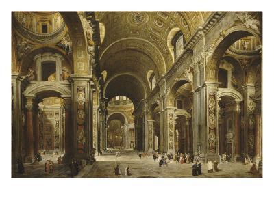 Le cardinal Malchior de Polignac visite Saint-Pierre-de-Rome-Giovanni Paolo Pannini-Giclee Print