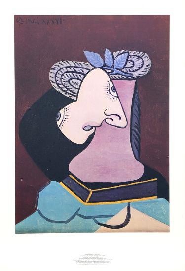 Le Chapeau de Paille au Feuilage Bleu-Pablo Picasso-Collectable Print