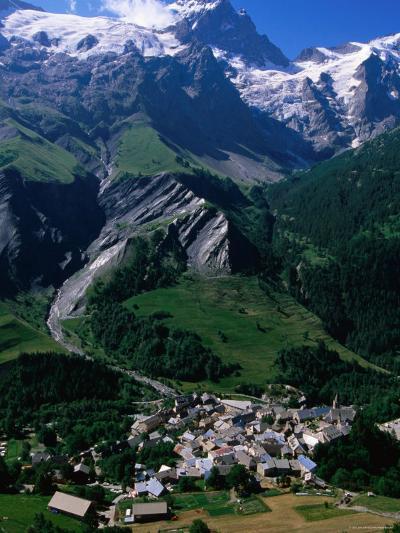 Le Chazalet, La Grave Village Below, with la Meije Rhone-Alpes, France-John Elk III-Photographic Print