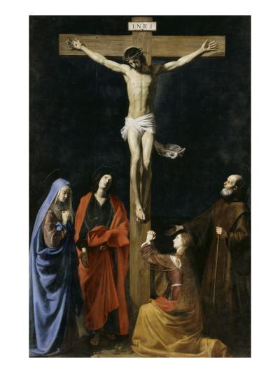 Le Christ en croix, la Vierge, la Madeleine, saint Jean et saint Vincent de Paul-Nicolas Tournier-Giclee Print