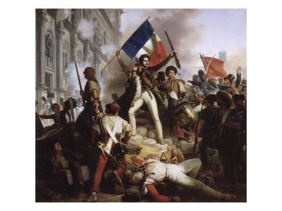 Le combat devant l'Hôtel de Ville, le 28 juillet 1830-Jean Victor Schnetz-Giclee Print