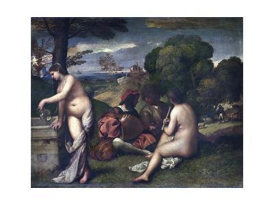 Le Concert Champetre, or the Pastoral Concert-Giorgione and Titian-Giclee Print