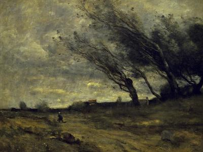 Le Coup de Ventgust of Wind-Jean-Baptiste-Camille Corot-Giclee Print