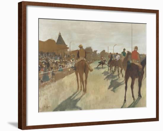 Le Défilé, dit aussi Chevaux de course devant les tribunes-Edgar Degas-Framed Giclee Print