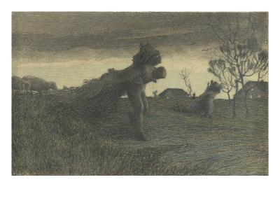 Le Dernier labeur du jour ou porteurs de fagots ou retour de la forêt-Giovanni Segantini-Giclee Print