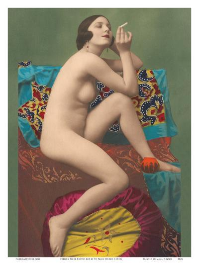 Le Fumeur (The Smoker) - Classic Vintage French Nude - Hand-Colored Tinted Erotic Art-PC Paris Studio-Art Print