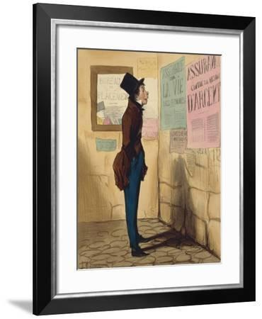 Le Gobe-Mouches by Honore Daumier, Caricature--Framed Giclee Print
