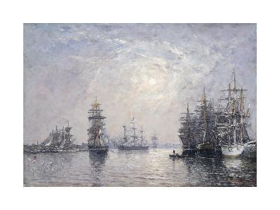 Le Havre, Eure Basin, Sailing Boats at Anchor, Sunset; Le Havre, Bassin De L'Eure, Voiliers a?-Eug?ne Boudin-Giclee Print