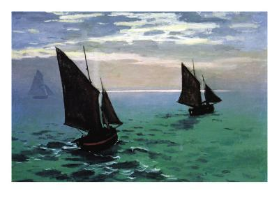 Le Havre - Exit The Fishing Boats From The Port-Claude Monet-Art Print