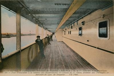Le Havre - Interior of SS France, Ocean Liner Owned by Compagnie Generale Transatlantique.…-French Photographer-Giclee Print