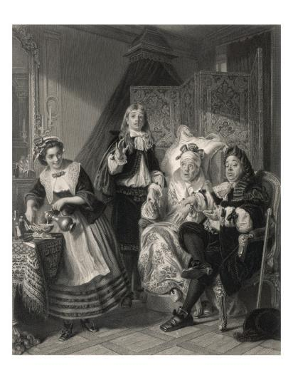 Le Malade Imaginaire' the Imaginary Invalid, His Doctors and His Maidservant--Giclee Print